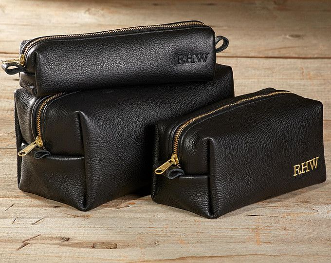 a57bd900c2 Black Leather Toiletry Bag Wash Bag Travel Shaving Dopp Kit with Monogram  Gift for Man - 3 Sizes