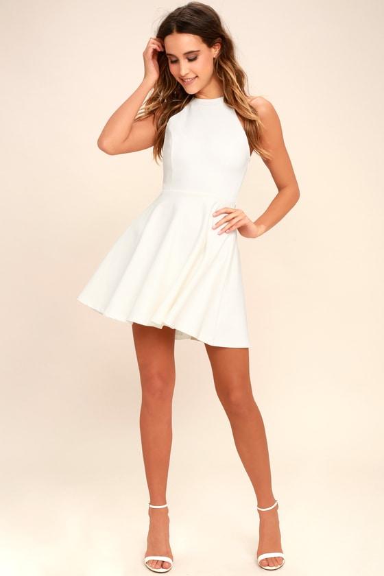 5f1514a6e7e7df Lulus | Delightful Surprise Ivory Skater Dress | Size Large | 100 ...