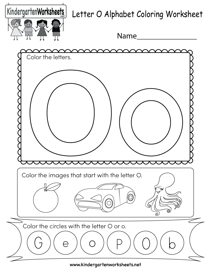This is a letter O coloring worksheet. Kindergarteners can ...