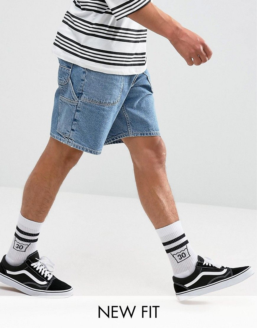 ced33dc3e ASOS Denim Shorts In Skater Fit Light Wash Blue With Workwear Details
