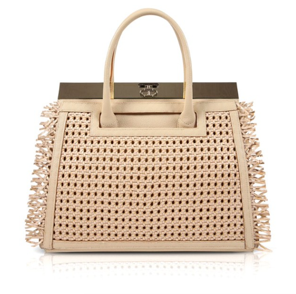 Inspiration to Culmination. The Roma in Beige. #Beige Pebbled Vitello Leather with Fringed Rattan Cover. #DeeOcleppo #DeeOcleppoBags #Spring2015 #Rattan #Raffia #Beige #TheRoma