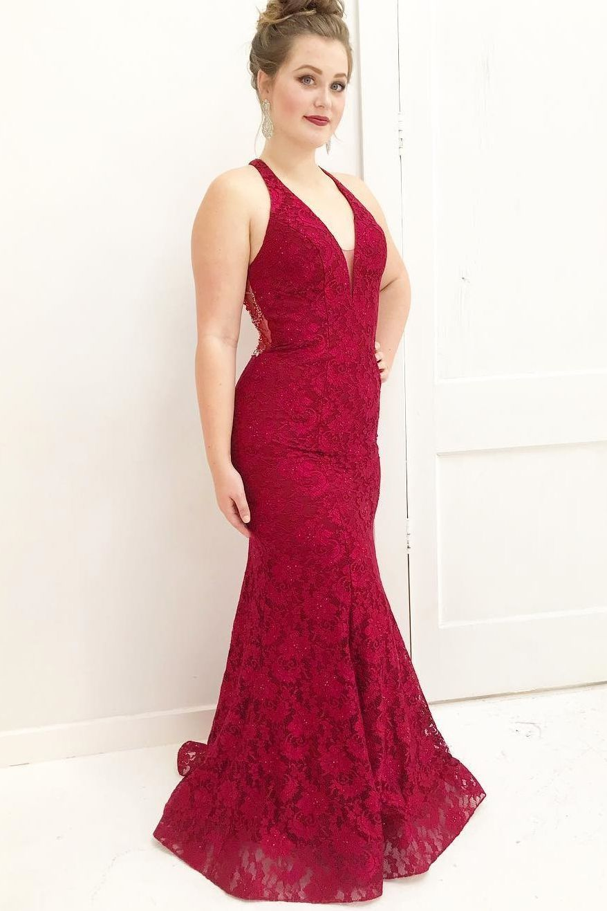 Red prom dress lace prom dress red mermaid prom dress red lace