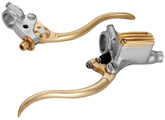 de luxe retro motorcycle hand controls aluminum and brass   cafe