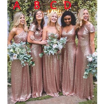 Hot Mismatched Gold Rose Sequined Bridesmaid Dresses fdf684251959