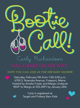 Bootie Call - Baby Shower Invitations in Slate | Hallmark