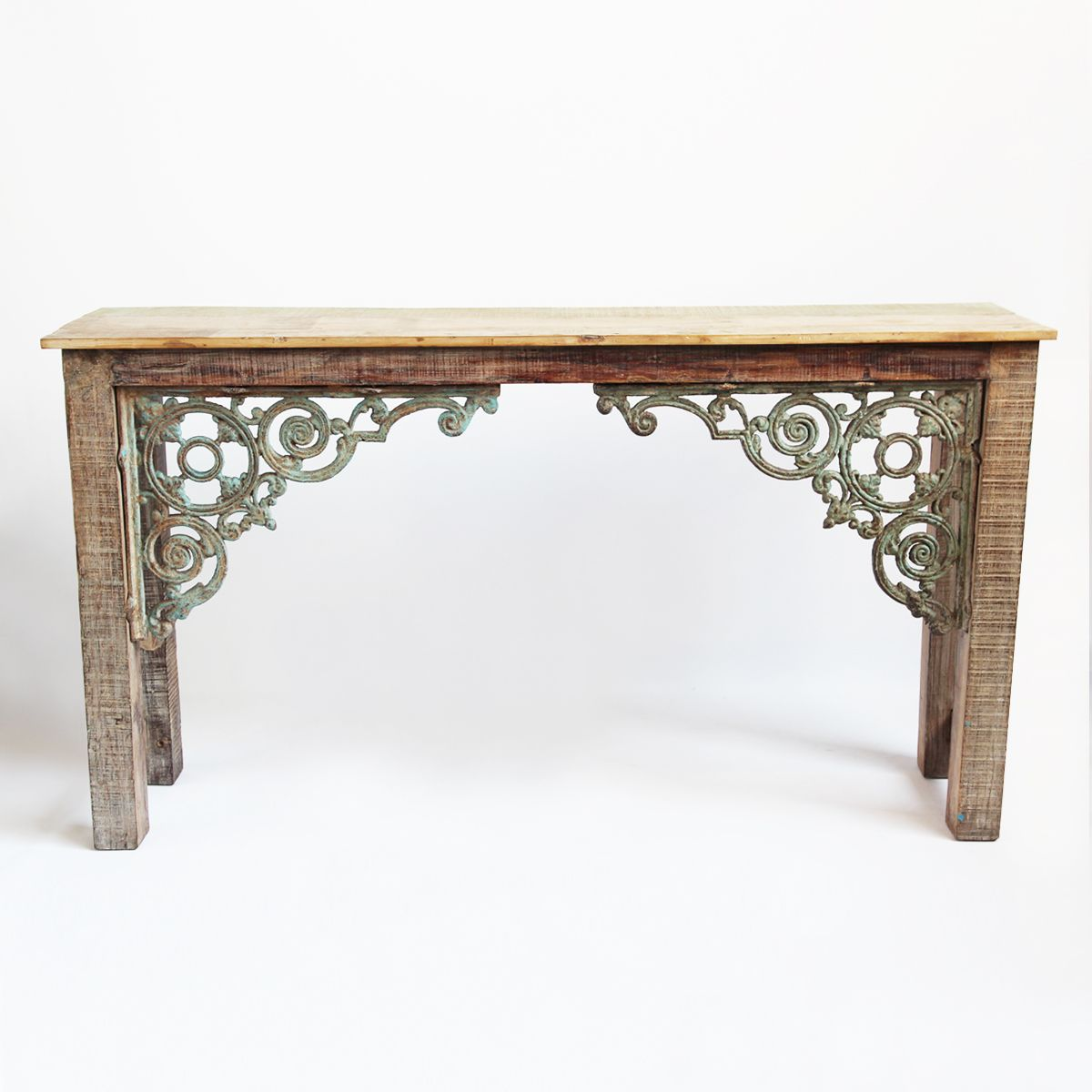Reclaimed wood and iron console table white wash reclaimed wood reclaimed wood and iron console table white wash reclaimed wood with cast iron corner brackets geotapseo Gallery