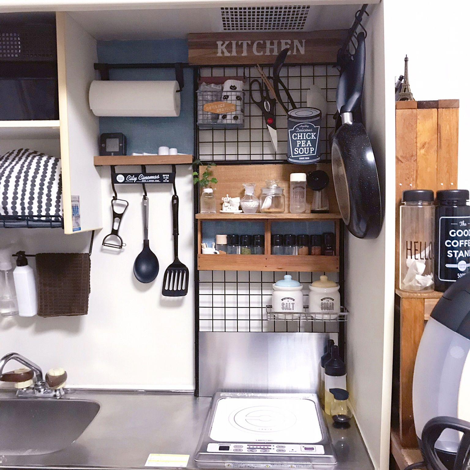 キッチン 突っ張り棒 ワイヤーネット プチdiy ミニ などのインテリア