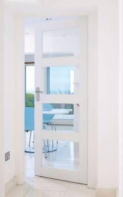 Primed 4 Panel Shaker Glazed Door To The Hall Way