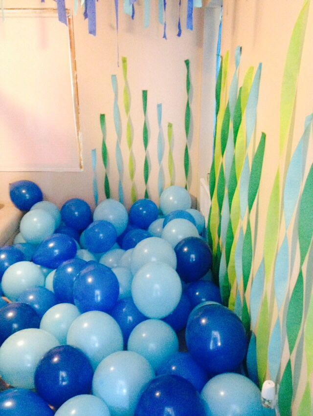 2 Year Old Under The Sea Shark Theme Birthday Party Multiple Colors Of Blue Balloons Blown Up In A Small Room Your House Crepe Paper Streamers For