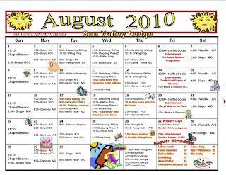 august assisted living indpependent living activities calendar