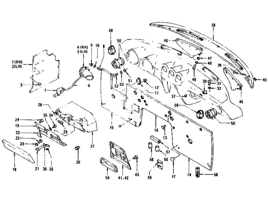 Datsun 240Z Dash Side Trim, Insulator & Glove Box (To Jul