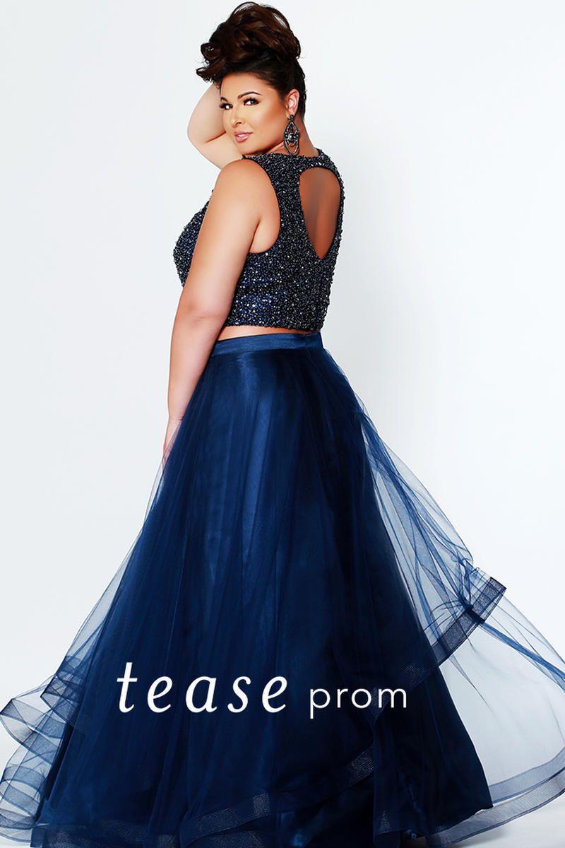Sydneys Closet Te1951 Tease Beaded 2 Piece Prom Dress French Novelty 2 Piece Prom Dress Navy Prom Dresses Piece Prom Dress [ 1200 x 800 Pixel ]
