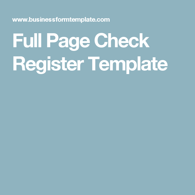 Full Page Check Register Template  Writing Paper