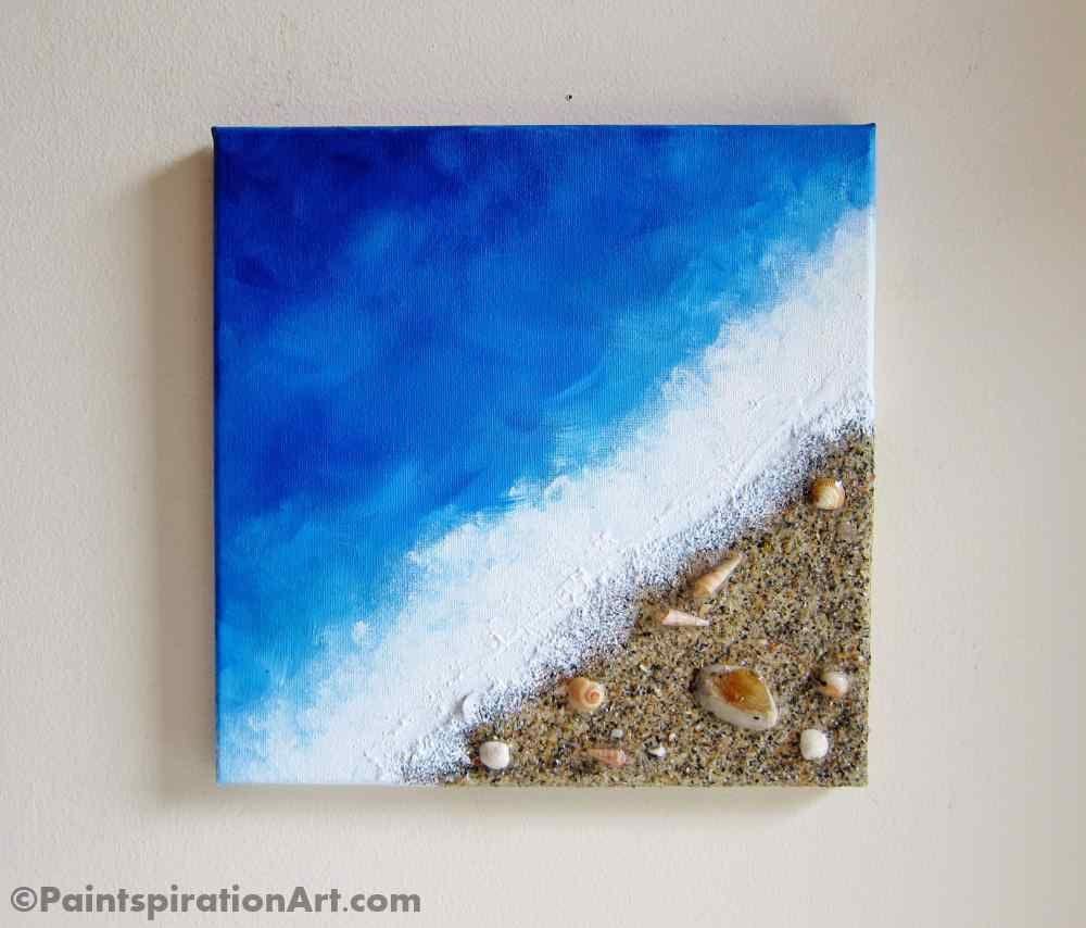 Beach Painting Ocean Decor With Real Sand And Seashells Art Coastal Home Decor Textured Art Mixed Media Canvas Art Beach Wall Art