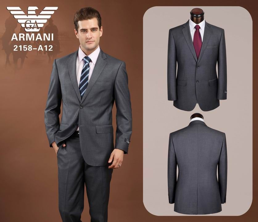 Armani Two Button Suits Grey 02