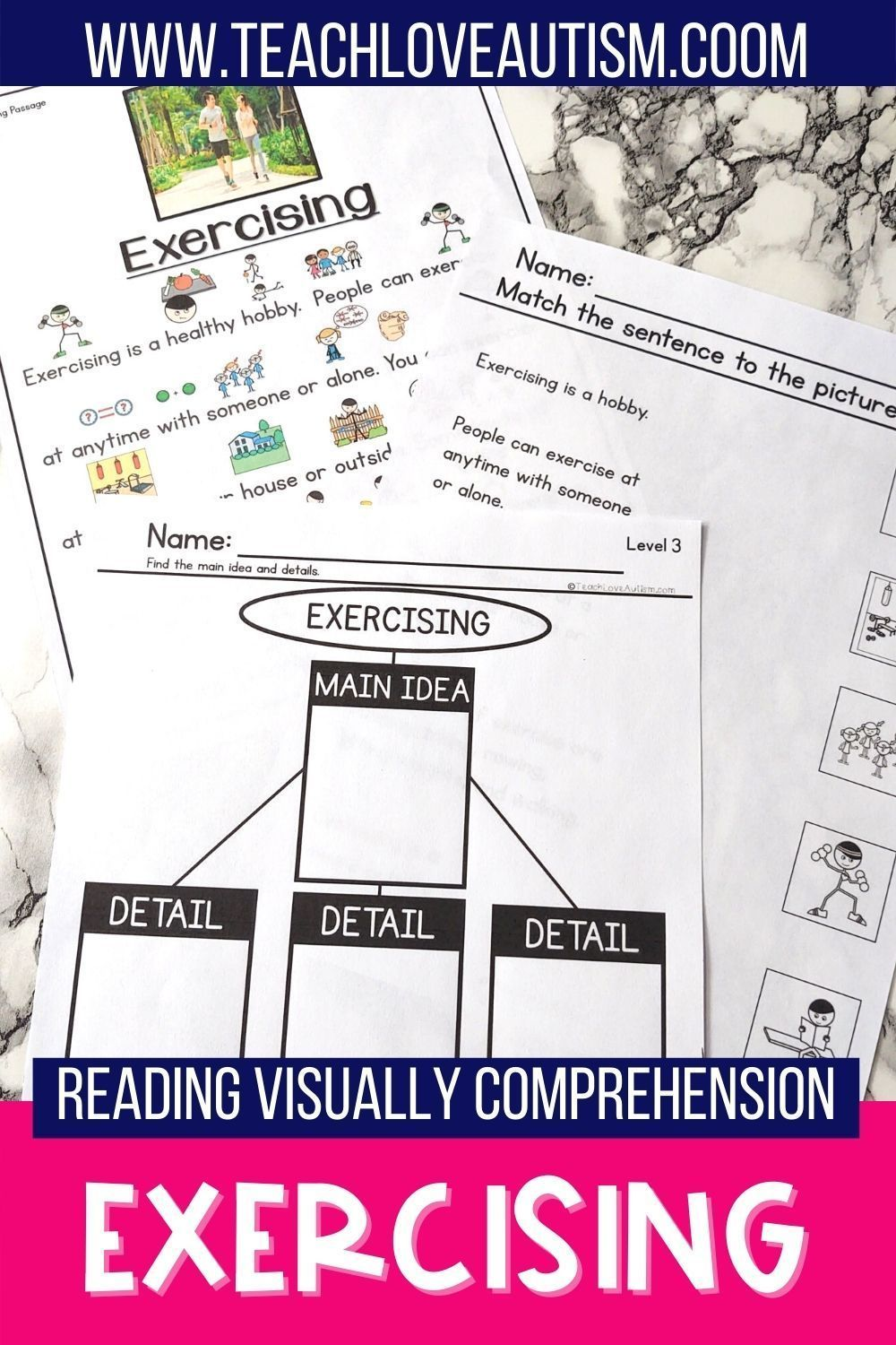 Exercising Reading Visually Comprehension Shop Teach Love Autism In 2021 Special Education Reading Reading Comprehension Activities Special Education Students [ 1500 x 1000 Pixel ]
