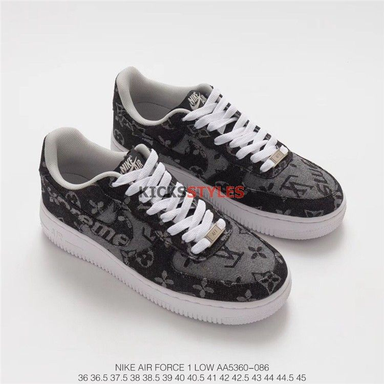 best cheap 62670 c84c0 Custom Air Force 1 Low Louis Vuitton Supreme Nike AF1 LV SUP Denim Black