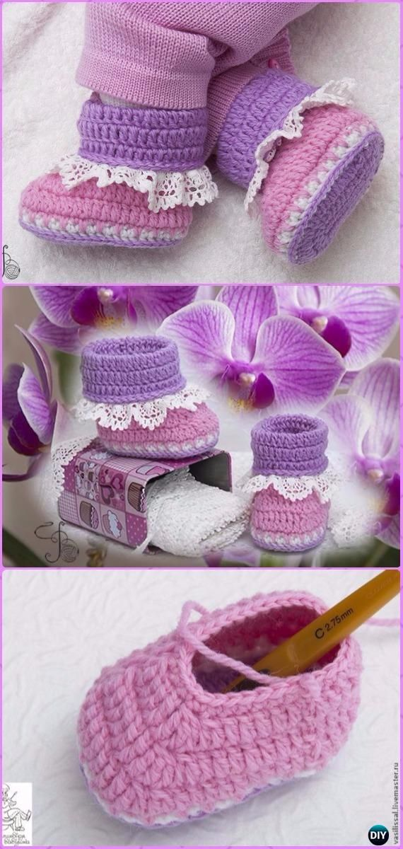 Crochet Orchid Lace Baby Booties Free Pattern - Crochet Baby Booties ...