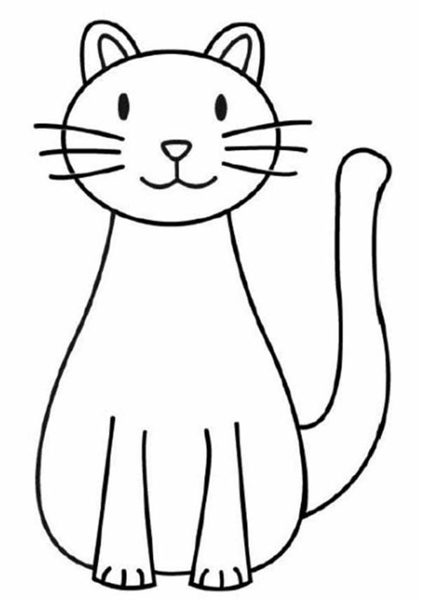 A Simple Drawing of Kitty Cat Coloring Page