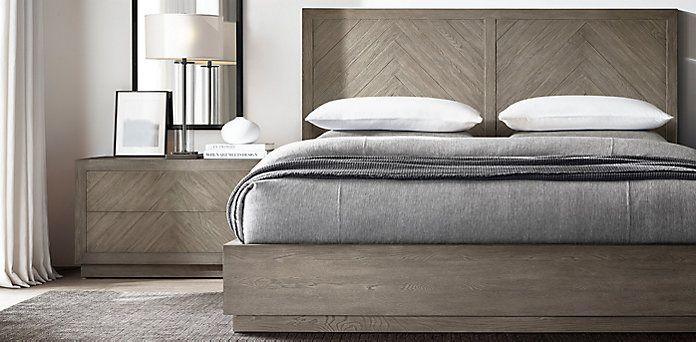 Herringbone Bedroom Collection Weathered Grey Oak Rh Herringbone Bedroom Bedroom Furniture Makeover Restoration Hardware Bedroom