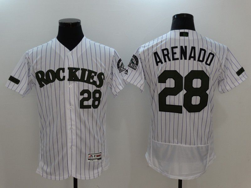 b7255c2f3 2017 Men MLB Colorado Rockies 28 Arenado White Elite Commemorative Edition  Jerseys