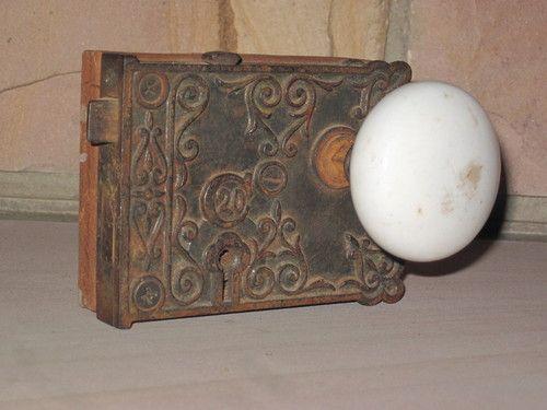 Old Antique White Porcelain Door Knob Handle Set Plate Keyhole