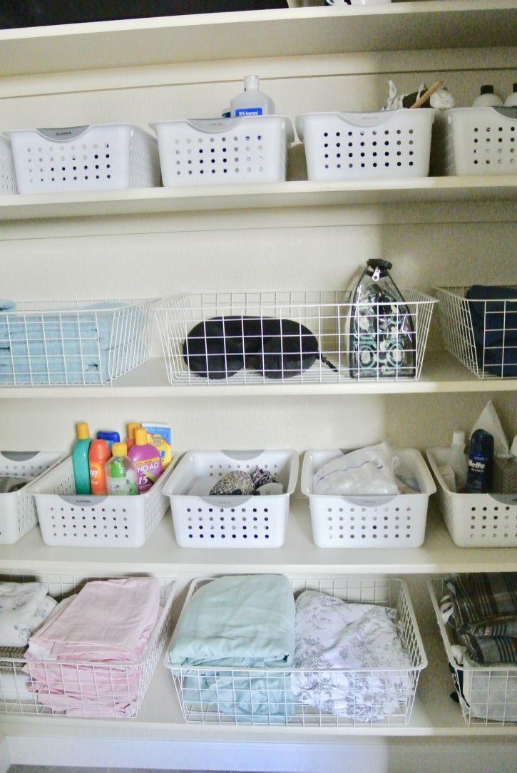 Organize A Linen Closet With Things You Already Have Linen Closet Linen Closet Organization Ikea Closet Organizer