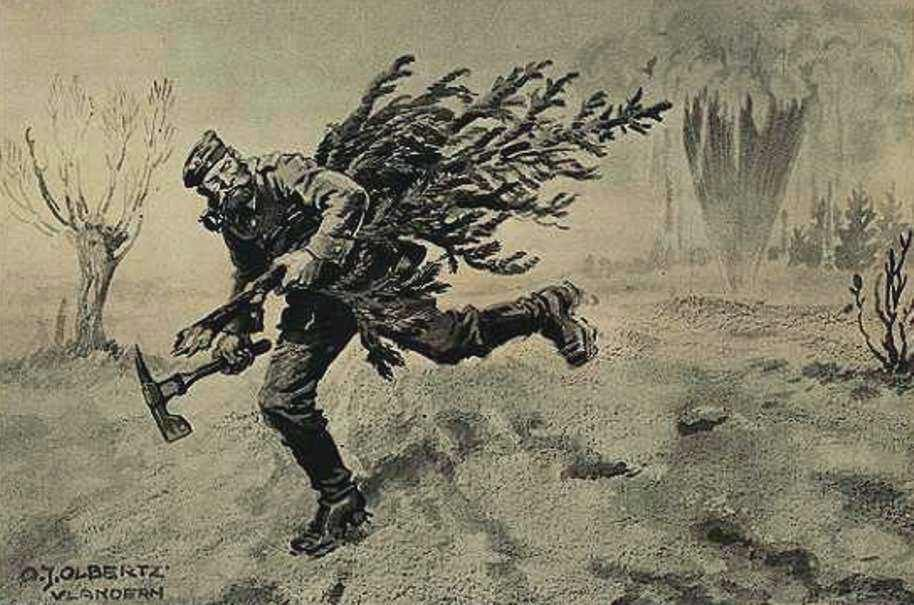 z- Illustrierte Zeitung' mag- - Xmas, WWI -Escaping from Enemy Fire w Christmas Tree