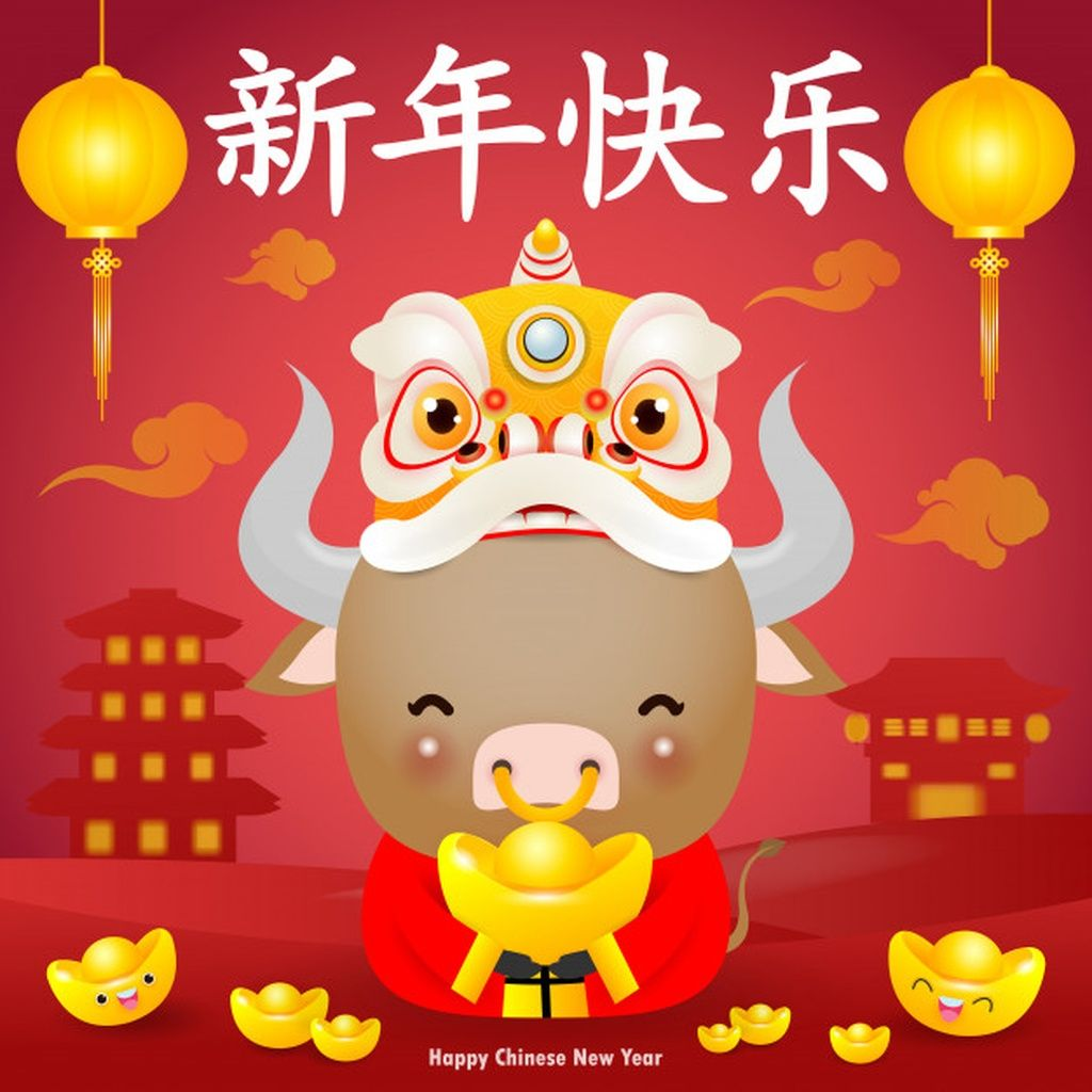 Happy chinese new year greeting cute little cow holding