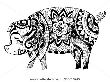 Drawing zentangle pig for coloring book for adult or other ...
