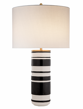 Kate Spade Sculpted Cylinder Table Lamp In White Leather Ceramic