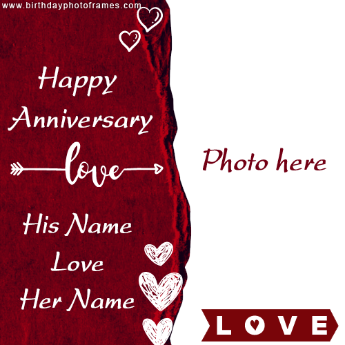 Happy Anniversary Card With Name And Photo Happy Wedding Anniversary Cards Happy Anniversary Cards Happy Wedding Anniversary Wishes