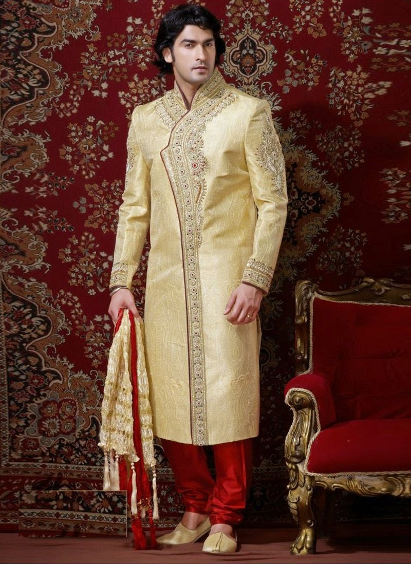 Exclusive high neck collar, front panel, sleeves, cuffs, bottom and all over rich work is decorated with antique beads, sequins, cutdana, jari, jardozy, kundans, resham embroidery, diamante...
