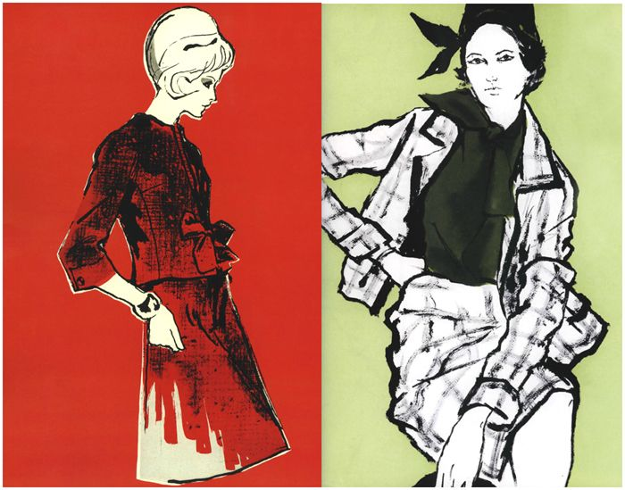 Vintage Harpers Bazaar fashion illustrations from the 50s.