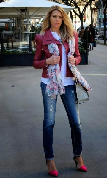 Look com Jaqueta Vinho Moda it | Moda It Jaqueta de Couro