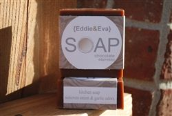 Chocolate Espresso Coffee Soap, also known as Kitchen Soap, is made with real coffee. Coffee is a natural deodorizer and works great at removing common kitchen odors from skin such as garlic and onions. It also works great getting greasy hands clean. ps... the chocolate is divine! : ) Enjoy!