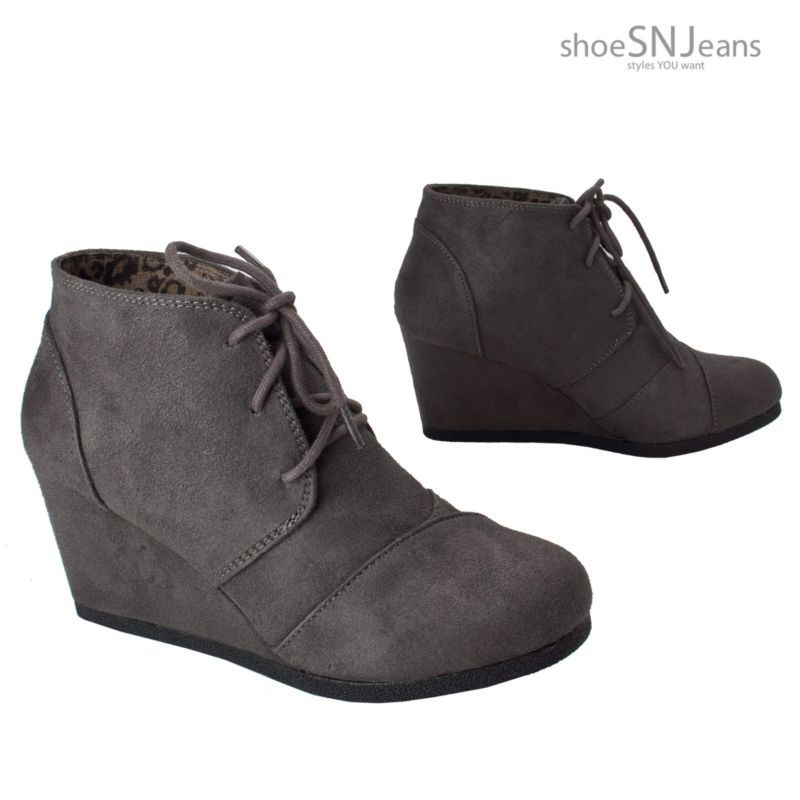 d7db184ef35b Women Wedge High Heel Booties Lace Up Round Toe Ankle Boots Cute Casual  Shoes