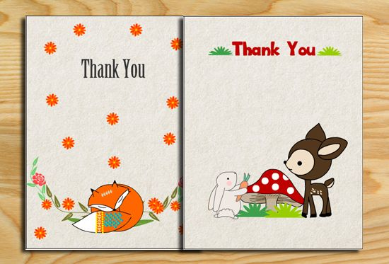 Free Printable Woodland Baby Shower Thank You Cards Baby Shower Thank You Cards Animal Baby Shower Theme Baby Shower Woodland