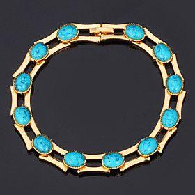 U7 Turquoise Bracelets Bangles For Women 18K Real Gold