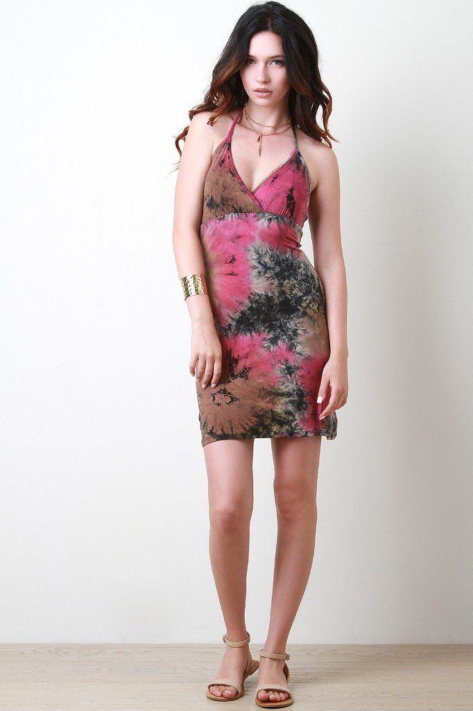 Tie Dye Halter Mini Dress