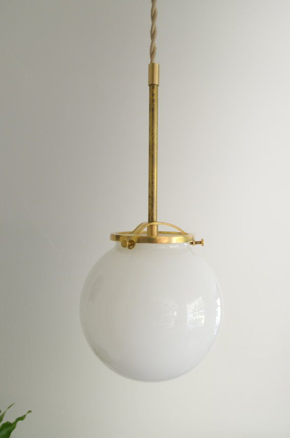 Gold brass hanging glass globe modern light. by triple7recycled