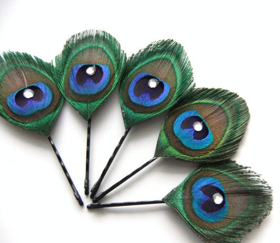 Peacock Feather Bobby Pin, Peacock Hair Clip, Bridal Bridesmaids Peacock Wedding…