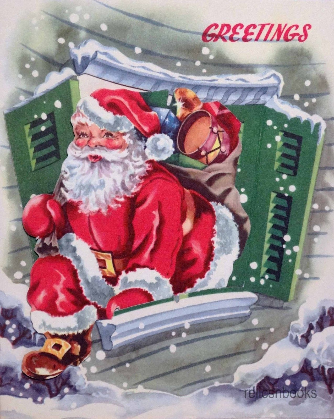 1074 50s Removable Diecut Santa in The Window Vintage Christmas Card Greeting | eBay