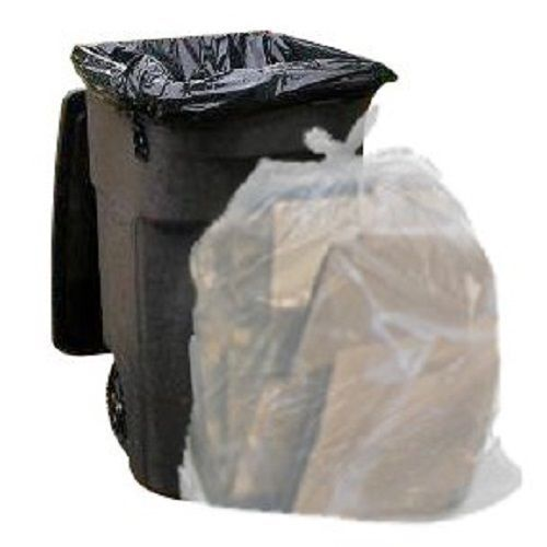 Clear Trash Bags Holder 65 Gallon 50 Garbage Bag Per Case Cleaning Yard Lawn