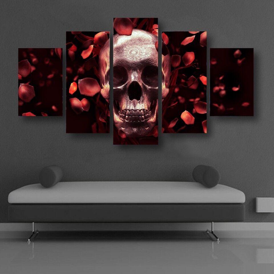 5 Panels HD Red Skull Wall Art Canvas  fashion  goth  accessories  women   womensfashion  style  blacklove  skull  stylish  biker 196ddd722