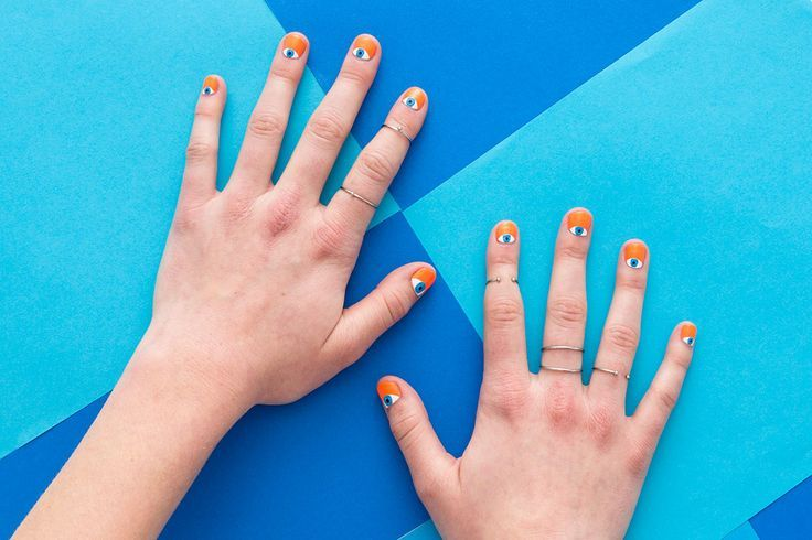 These DIY Evil Eye Nails Take Half Moon Manis to the Next Level