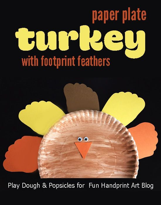 Thanksgiving Arts And Crafts Ideas For Kids Part - 35: A Fun Thanksgiving Paper Plate Turkey With Footprint Feathers Craft Idea