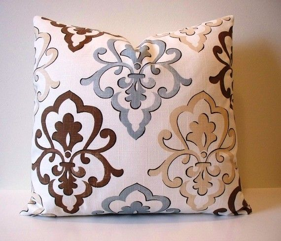 Light Blue And Brown Decorative Pillows : Love the fabric and colors for great room accents Home Pinterest Fabrics, Room and Blue throws