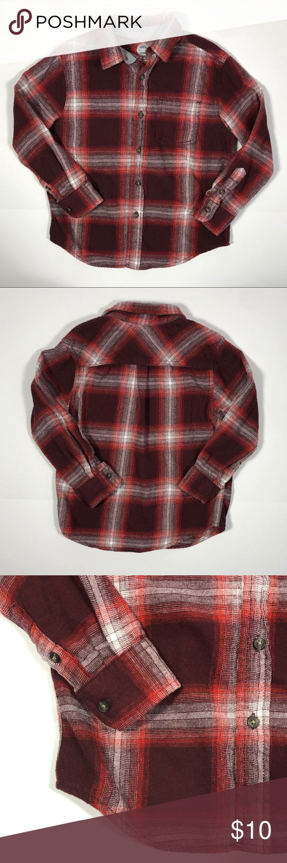 c0f734e07 Wonder Nation Boys Flannel Button Up Plaid Red Med Wonder Nation, Boys,  Flannel, Button-Up Shirt, Size Medium (8), Plaid, Red, Long Sleeve, One  Chest Pocket ...