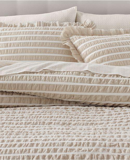 Martha Stewart Collection Seersucker Stripe Oat 8 Pc King Comforter Set Created For Macy S
